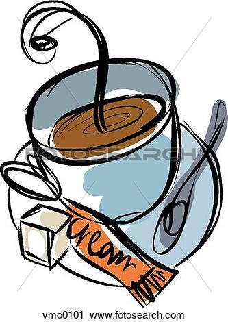 Clipart of coffee with cream and sugar vmo0101.