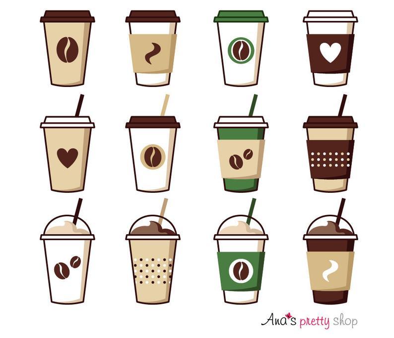 Coffee cup clipart, coffee vector illustrations, coffee pot, coffee break,  espresso, cappuccino, latte, mocha, ice coffee, paper cup.