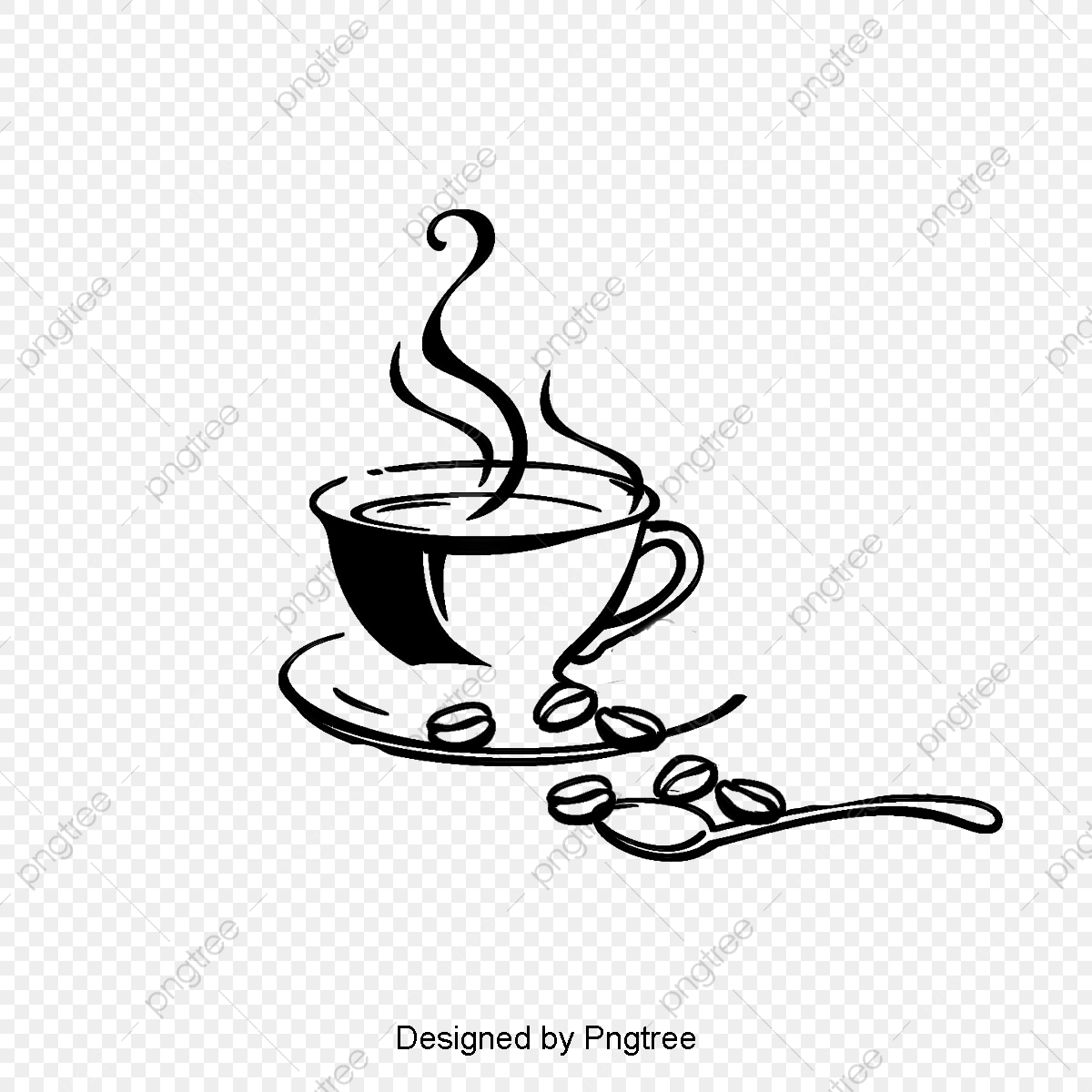 Vector Coffee Cup And Coffee Beans, Mug, Vector Coffee Cup, Cartoon.