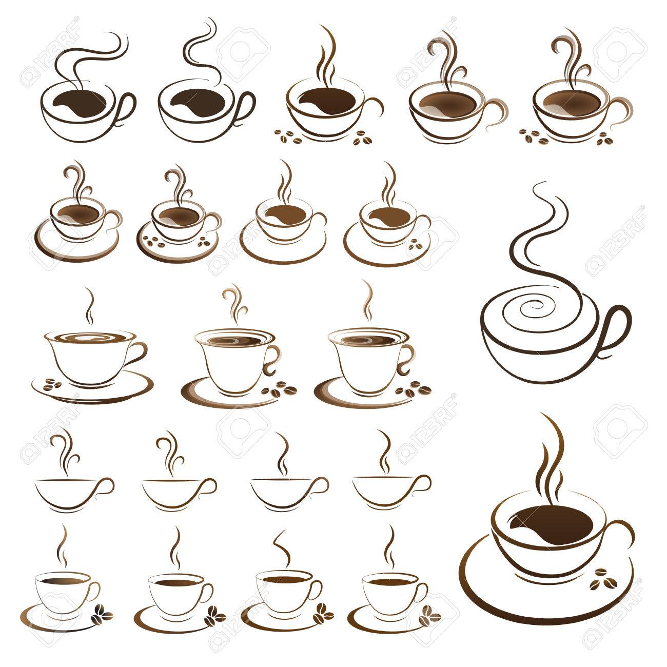 clipart set hot coffee cup vector on a white background.