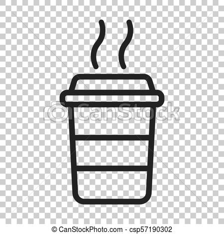 Coffee cup icon. Vector illustration on isolated transparent background.  Business concept coffee mug pictogram..