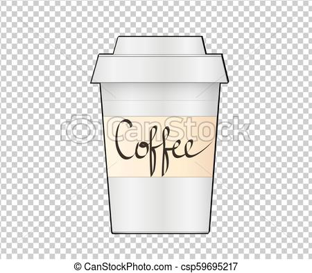 Paper Coffee Cup on transparent background. Collection Coffee Cup Mockup.  Vector Illustration Template.
