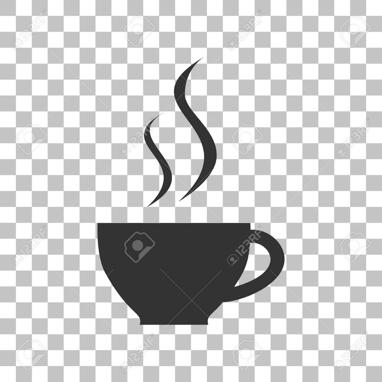 Cup of coffee sign. Dark gray icon on transparent background..