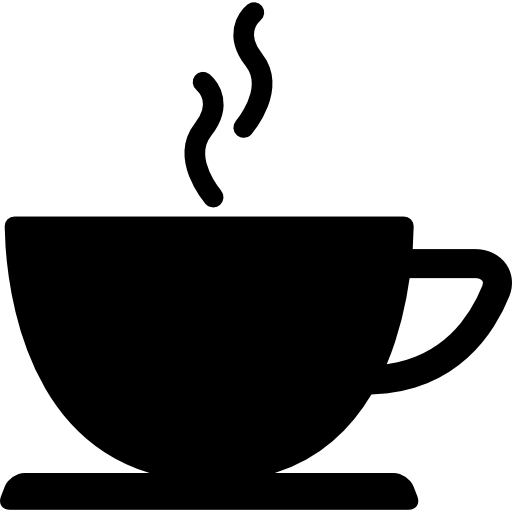 Coffee cup of hot drink black silhouette Icons.