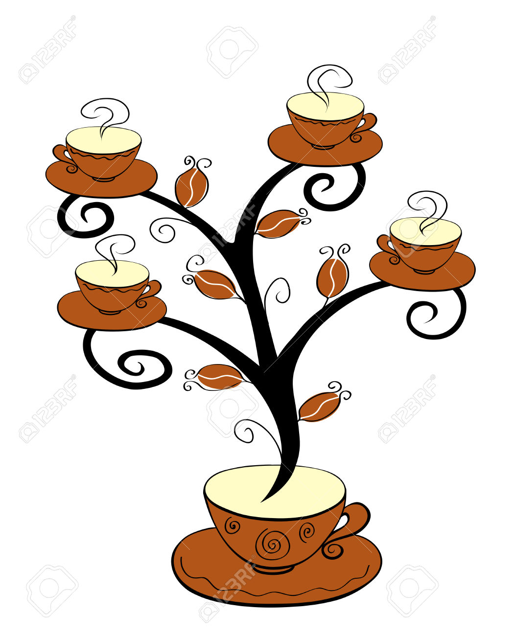 Coffee Cup Tree Clipart.