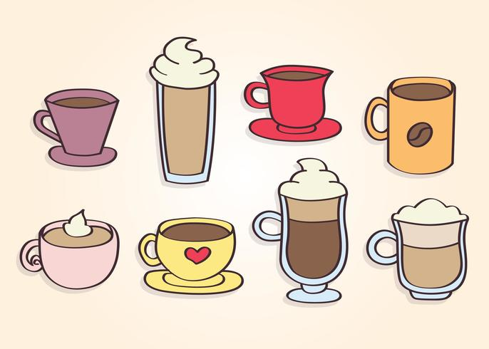 Hand Drawn Coffee Cups Vector.