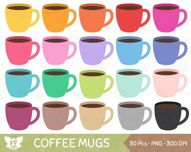 Coffee Mugs Clipart, Coffees Clip Art, Rainbow Morning Hot Tea Cup Mug  Breakfast Beverage Drink Cute, PNG Graphic Download, Commercial Use.
