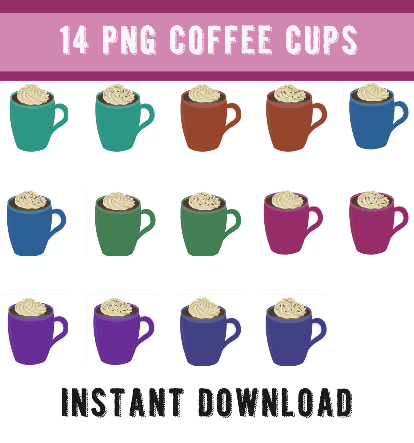 14 Coffee Cups, Coffee Cup Clipart, Coffee Cups Clip art, Instant Download  Clip Art, Coffee Mug Clip Art, Mug Clipart, Coffee,Commercial Use.