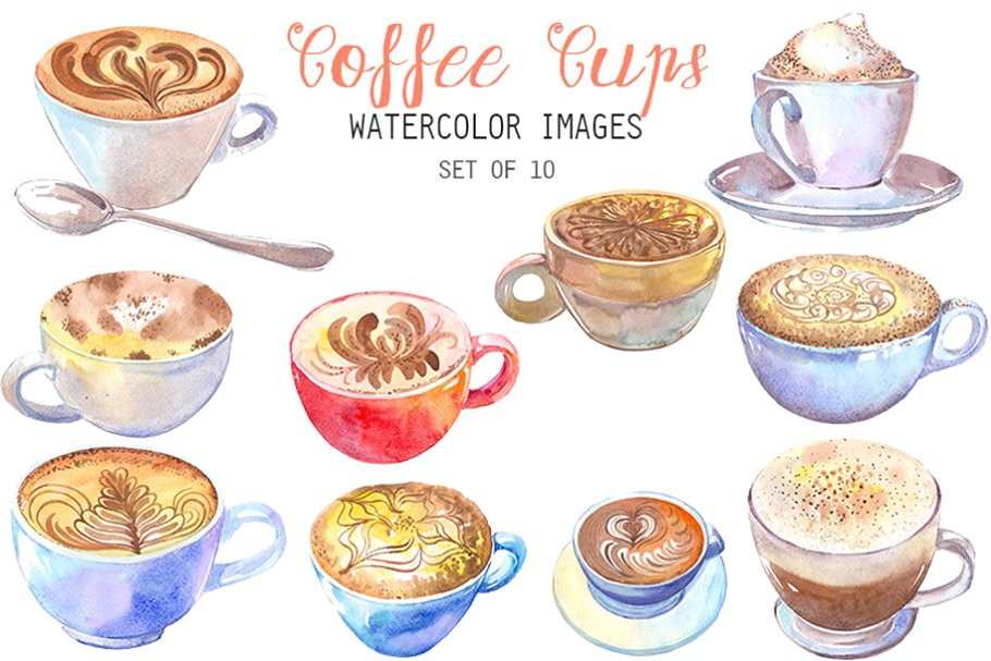 Watercolor Coffee Cups Clipart.