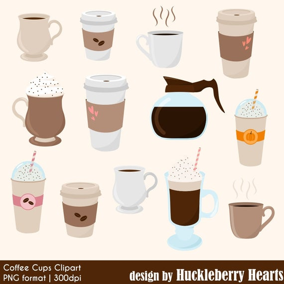 Coffee Clipart, Digital Coffee, Coffee Cups, Coffee Mugs, Latte, Espresso,  Mocha, Frappe, Printable, Commercial Use.