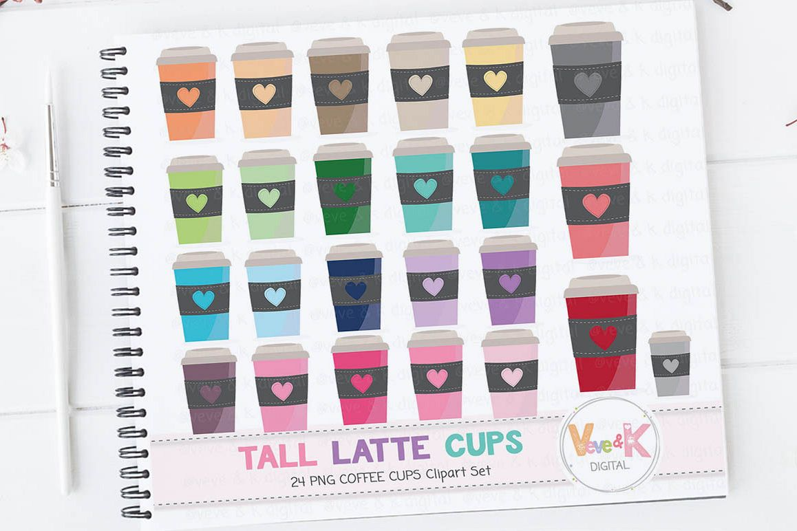 Coffee Clipart, Travel Mug Clipart, Latte Mug Clipart, Tea clipart, Mug  Clipart, Coffee Cups Clipart, Coffee Addict Clipart.