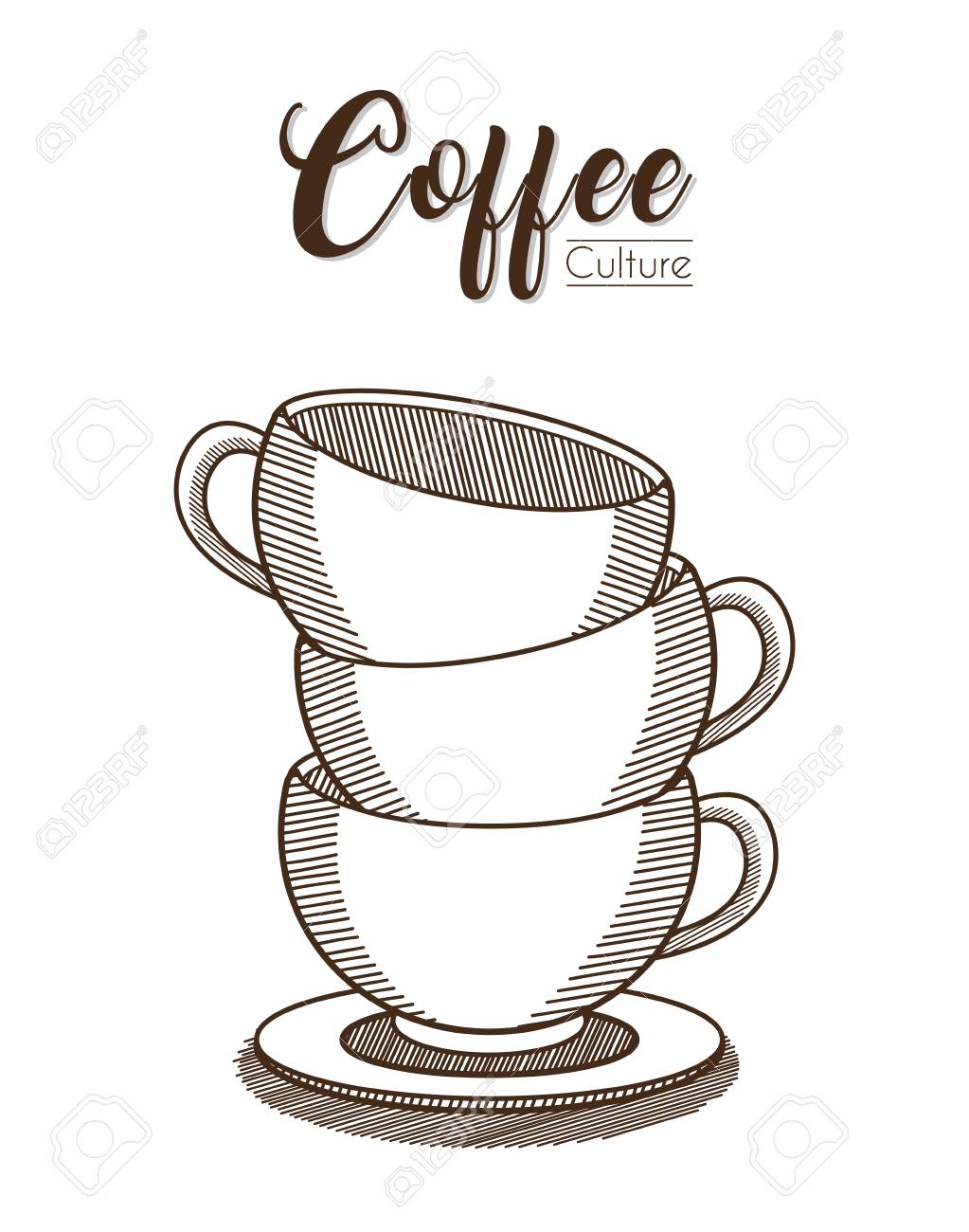 Stacked Coffee cups vector illustration.