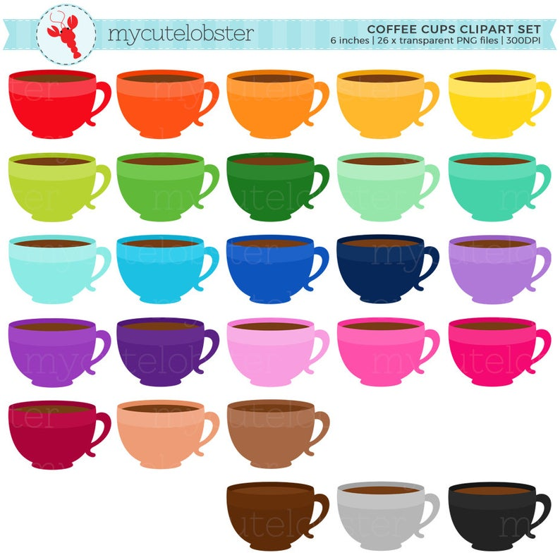 Rainbow Coffee Cups Clipart Set.