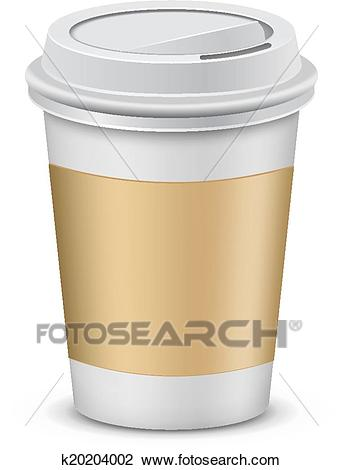 Plastic coffee cups with lid Clipart.