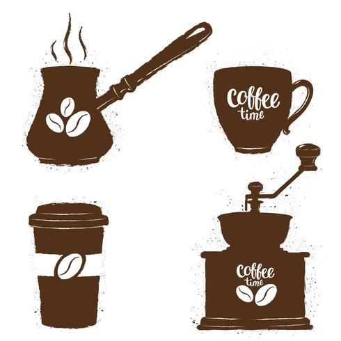 Vintage coffee objects set. Silhouettes of coffee cups.