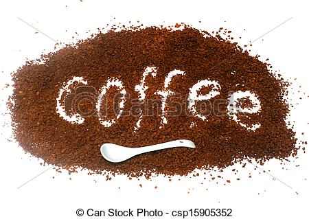 "Stock Images of The word ""coffee"" from instant coffee granules."
