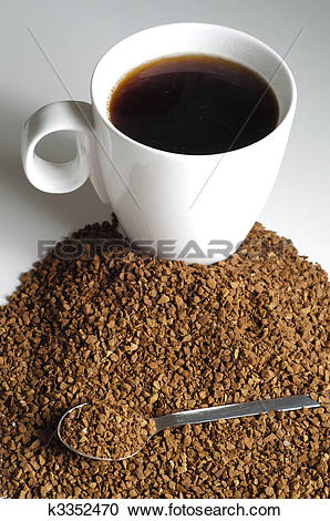 Stock Photography of Pile of Decaffeinated coffee granules with.