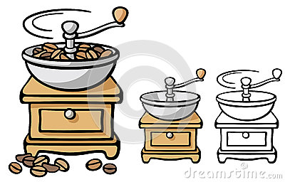 Antique Coffee Grinder Stock Illustrations.