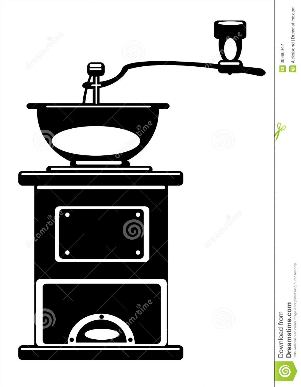 Vector Coffee Grinder Isolated On White Stock Photography.
