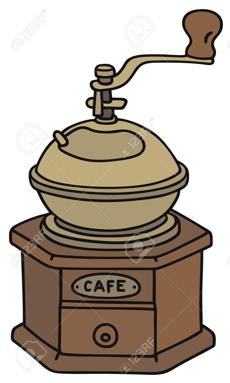 Hand Drawing Of An Antique Coffee Grinder Royalty Free Cliparts.