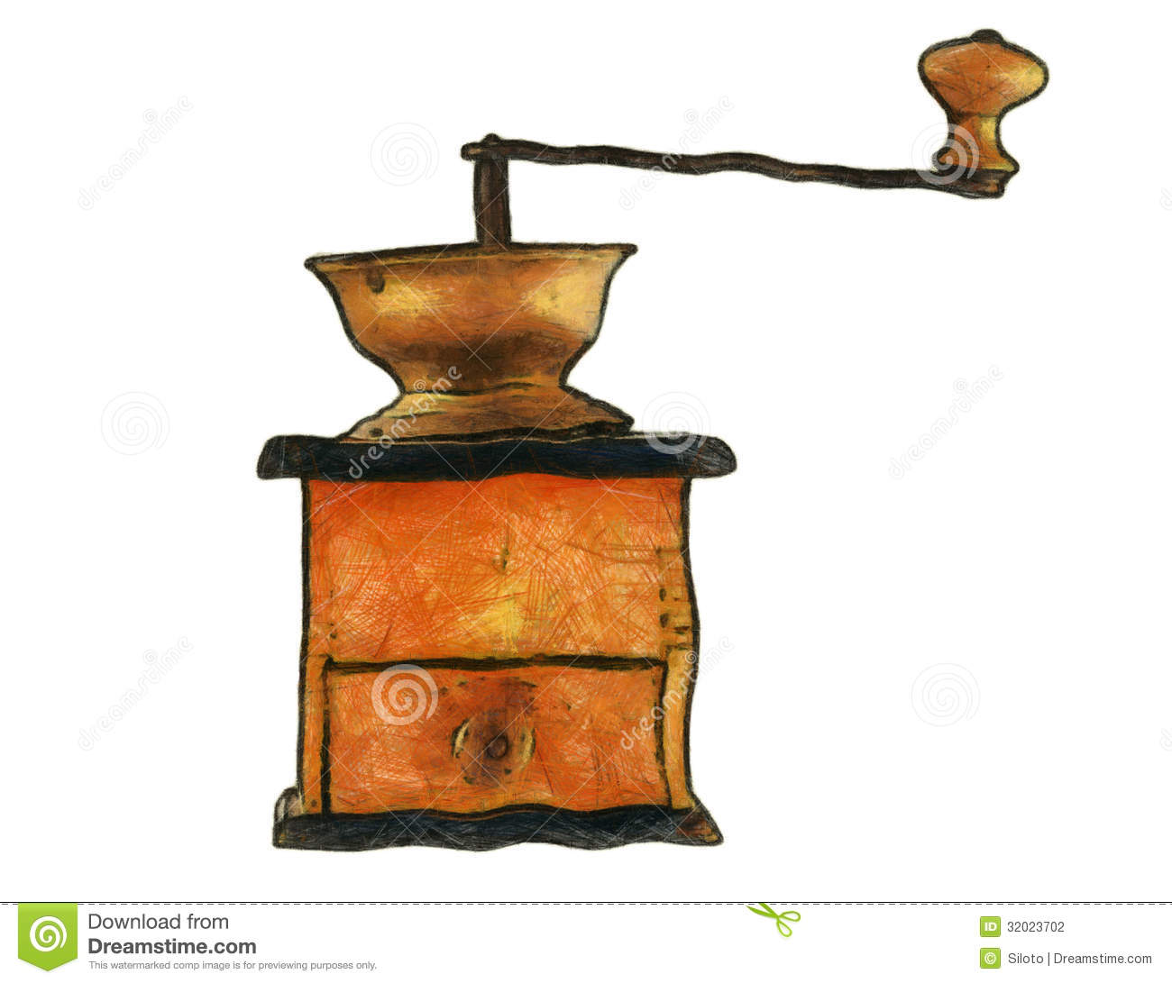 Old Coffee Grinder Stock Illustrations.