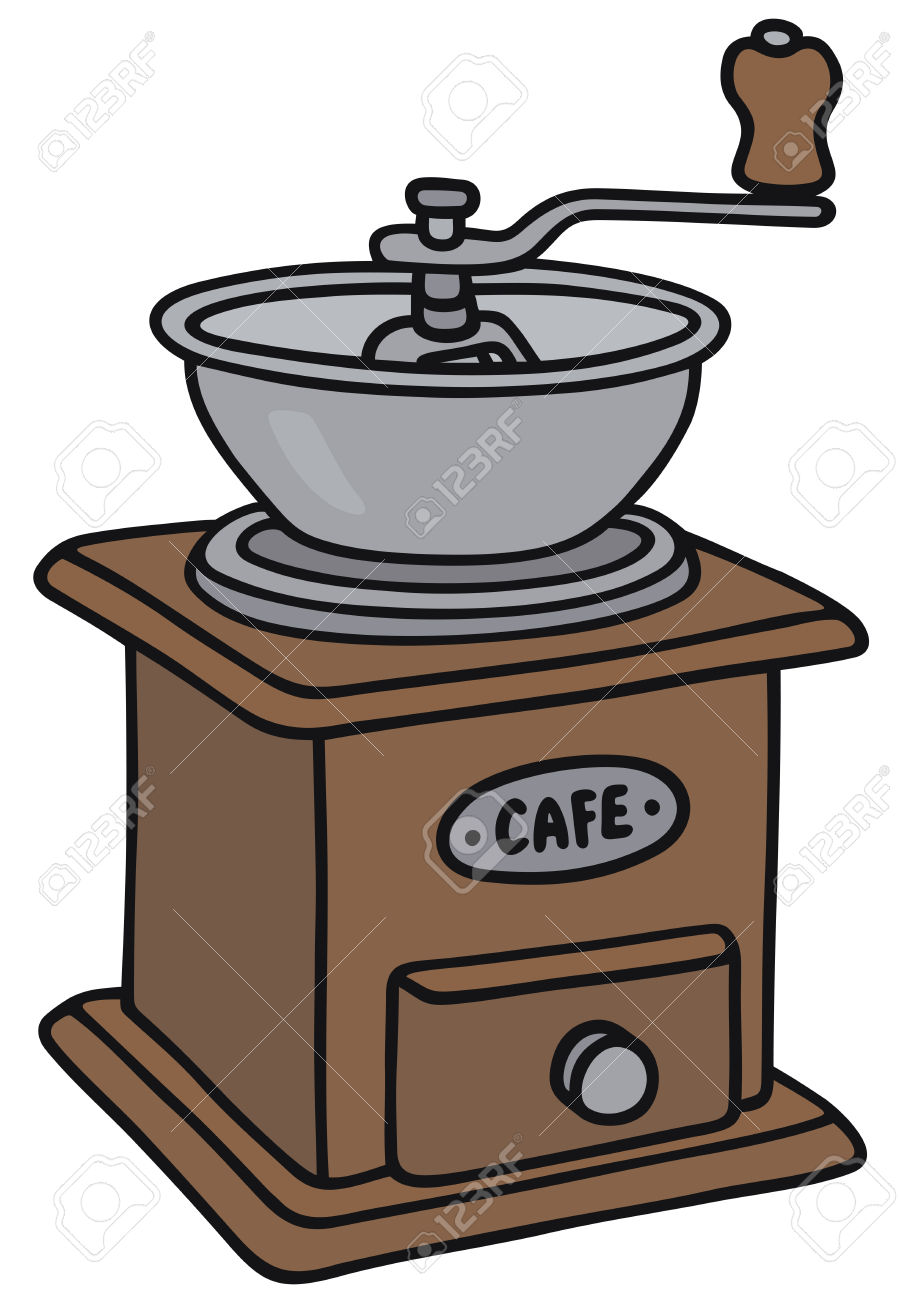 Hand Drawing Of A Vintage Coffee Grinder Royalty Free Cliparts.