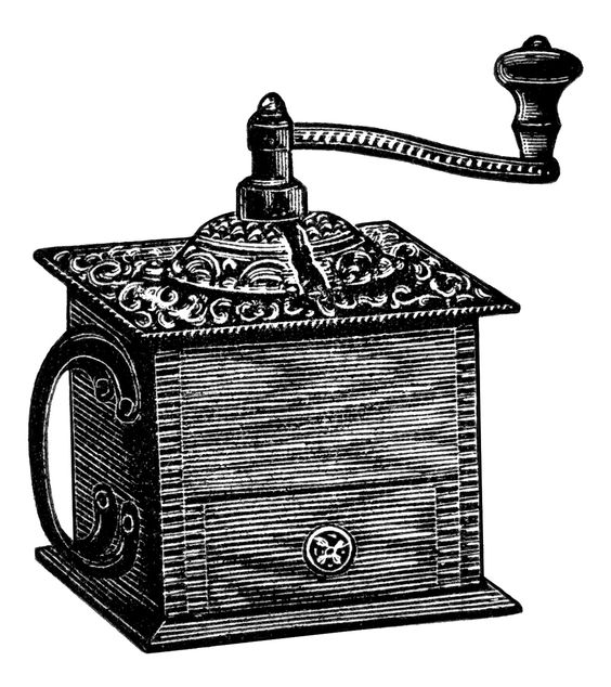 vintage coffee grinder, grinder clipart, black and white clip art.
