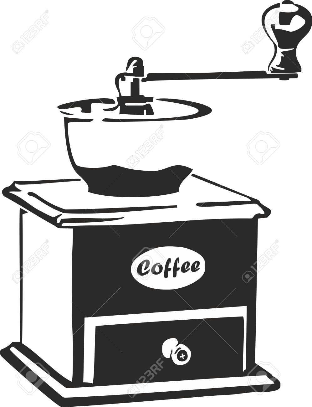 Vector Illustration Of An Old Coffee Grinder Royalty Free Cliparts.