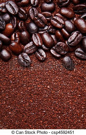 Stock Photography of coffee grounds and whole beans background.