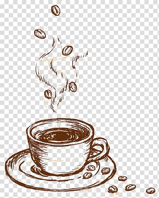 Cup of coffee illustration, Coffee cup Cappuccino Cafe, Hand.