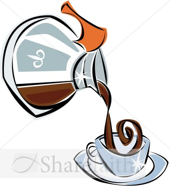 Pouring coffee pot clipart.