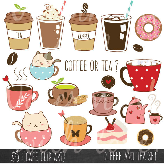 Coffee and Tea Clipart/ Donut and Latte by CafeClipArt on.