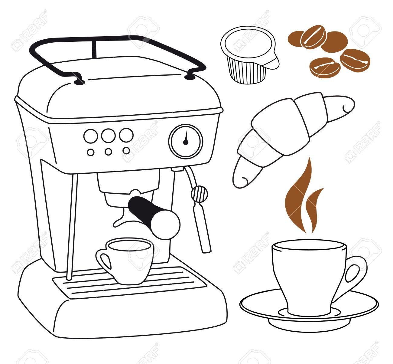 Espresso Coffee Machine Clip Art Set Royalty Free Cliparts.