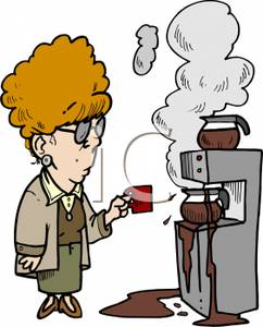 Image: A Woman with a Cup Staring At an Overflowing Coffee Machine.