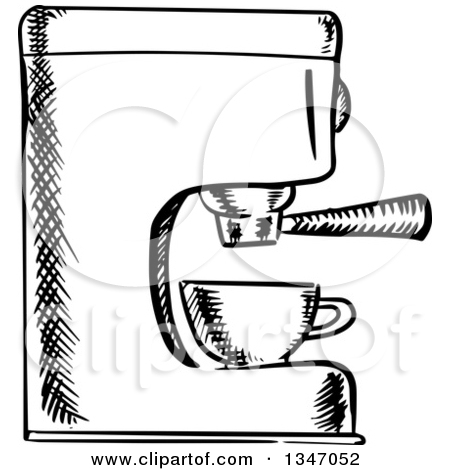 Clipart of a Black and White Sketched Espresso Coffee Machine.