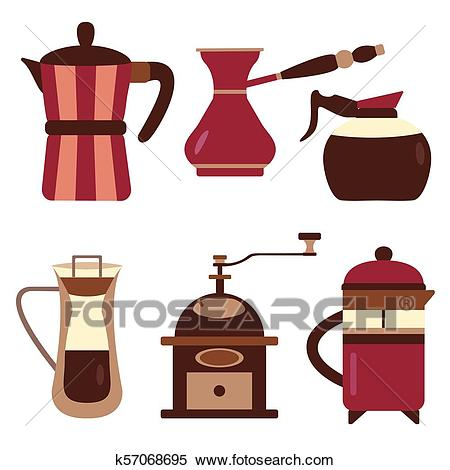 Drip Coffee Makers and Devices Icons Clipart.