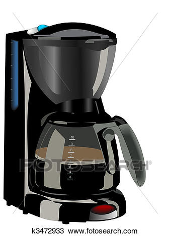 Realistic illustration of coffee maker Clipart.