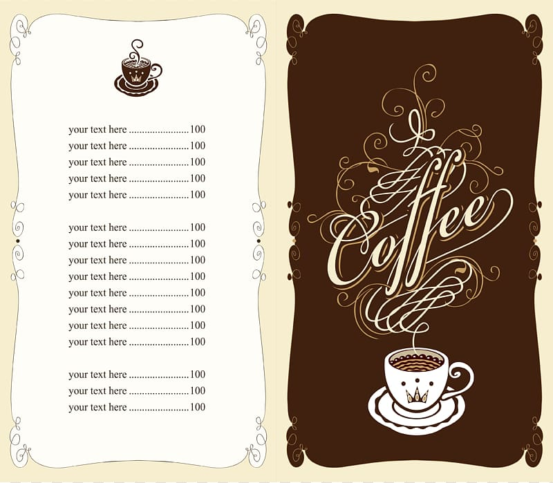 Coffee template, Coffee Tea Cafe Fast food Menu, Menu design.
