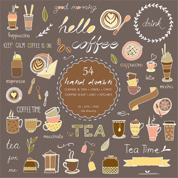 54 Hand Drawn Coffee & Tea Digital Clipart.