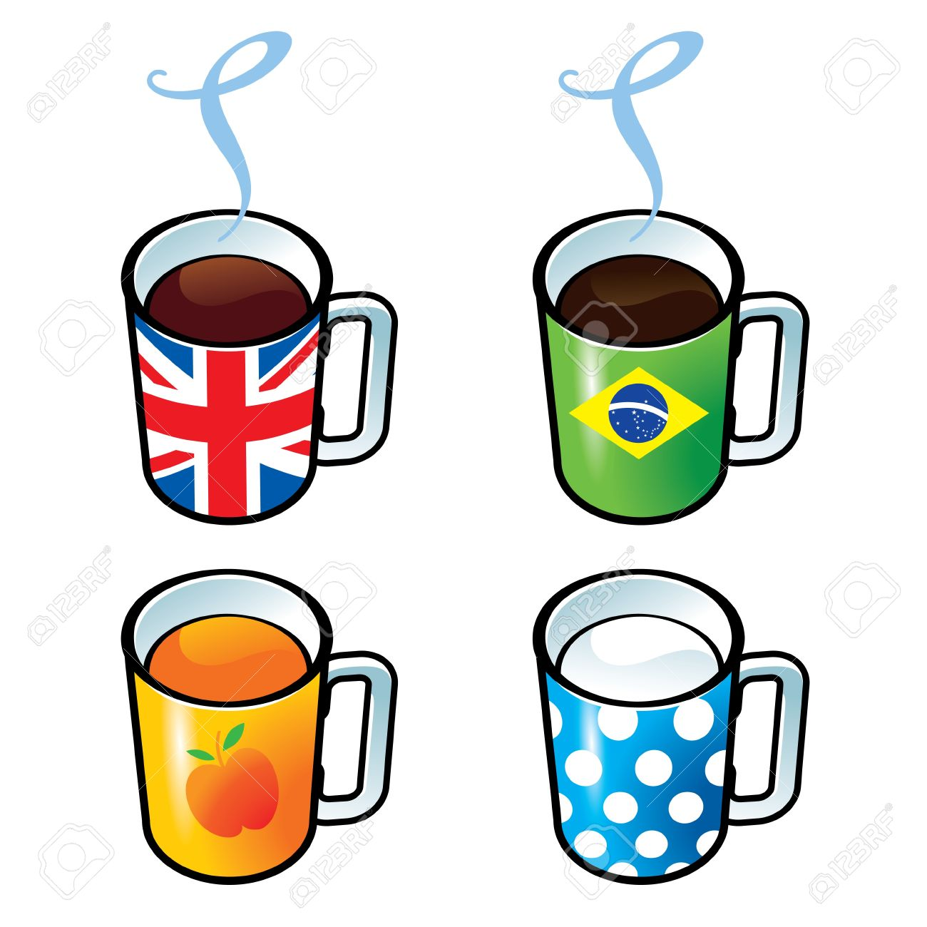 Milk and juice clipart.