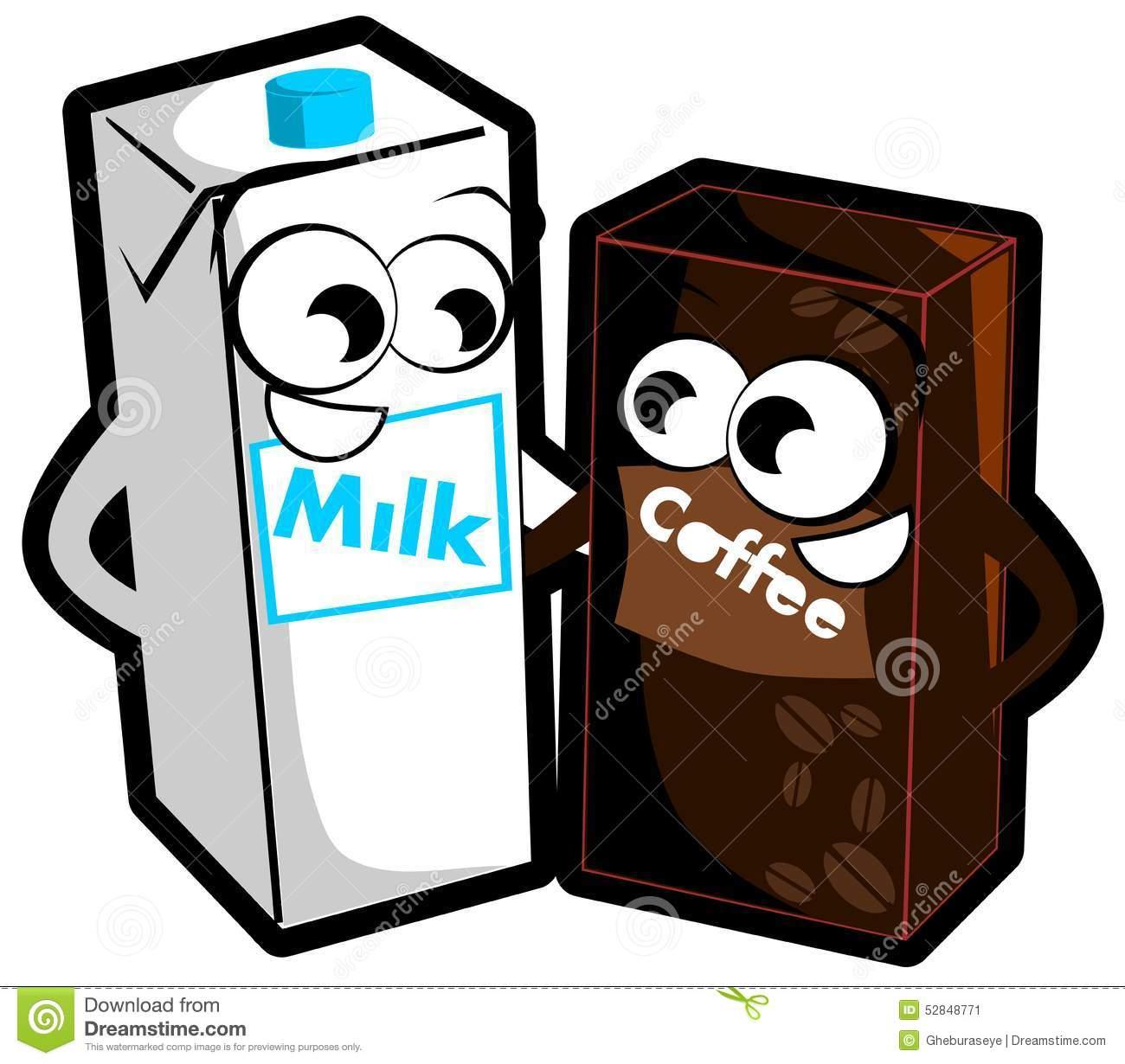 Milk And Coffee Cartoon Isolated Stock Vector.