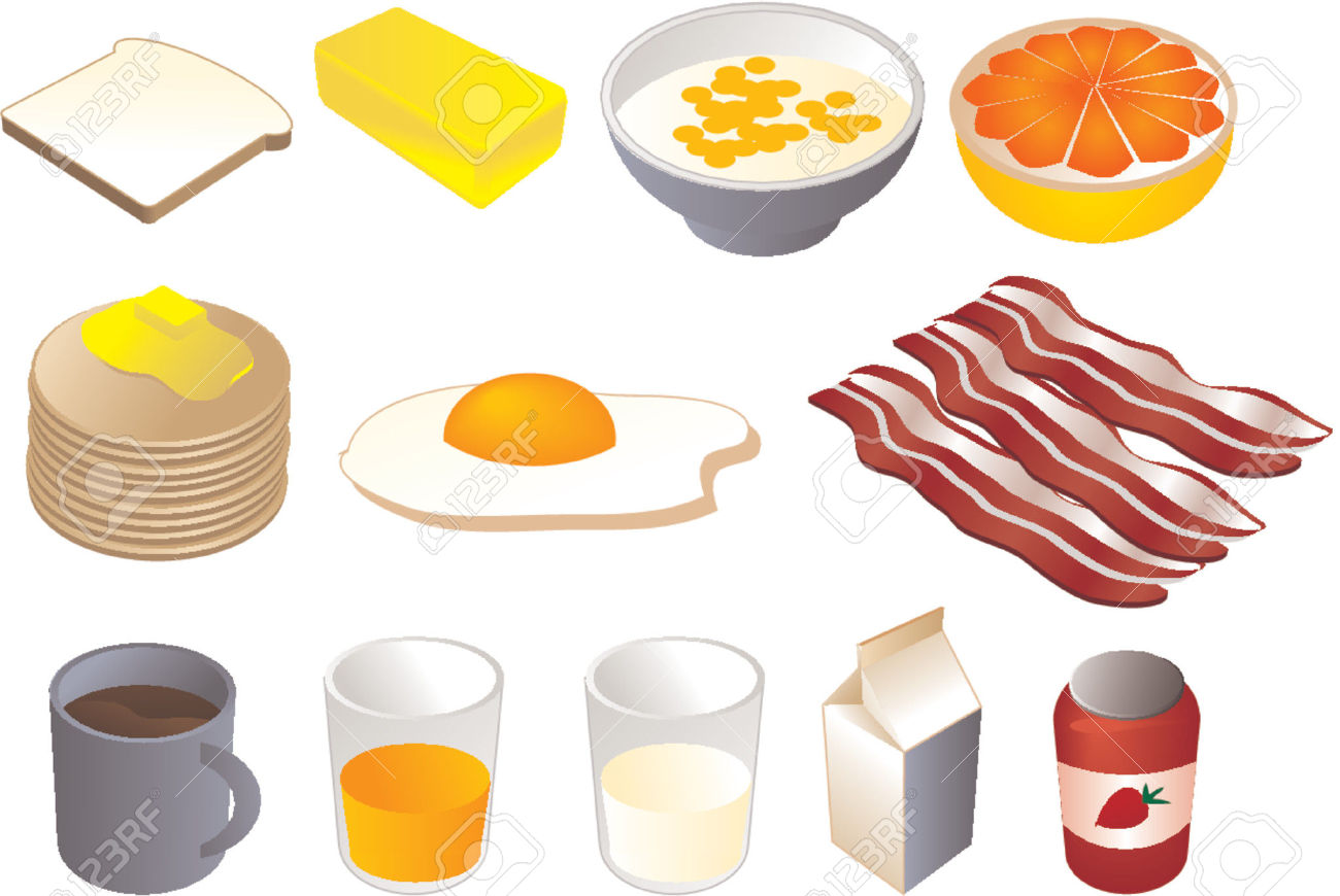 Breakfast Clipart Illustrations, Vector, 3d Isometric Style.