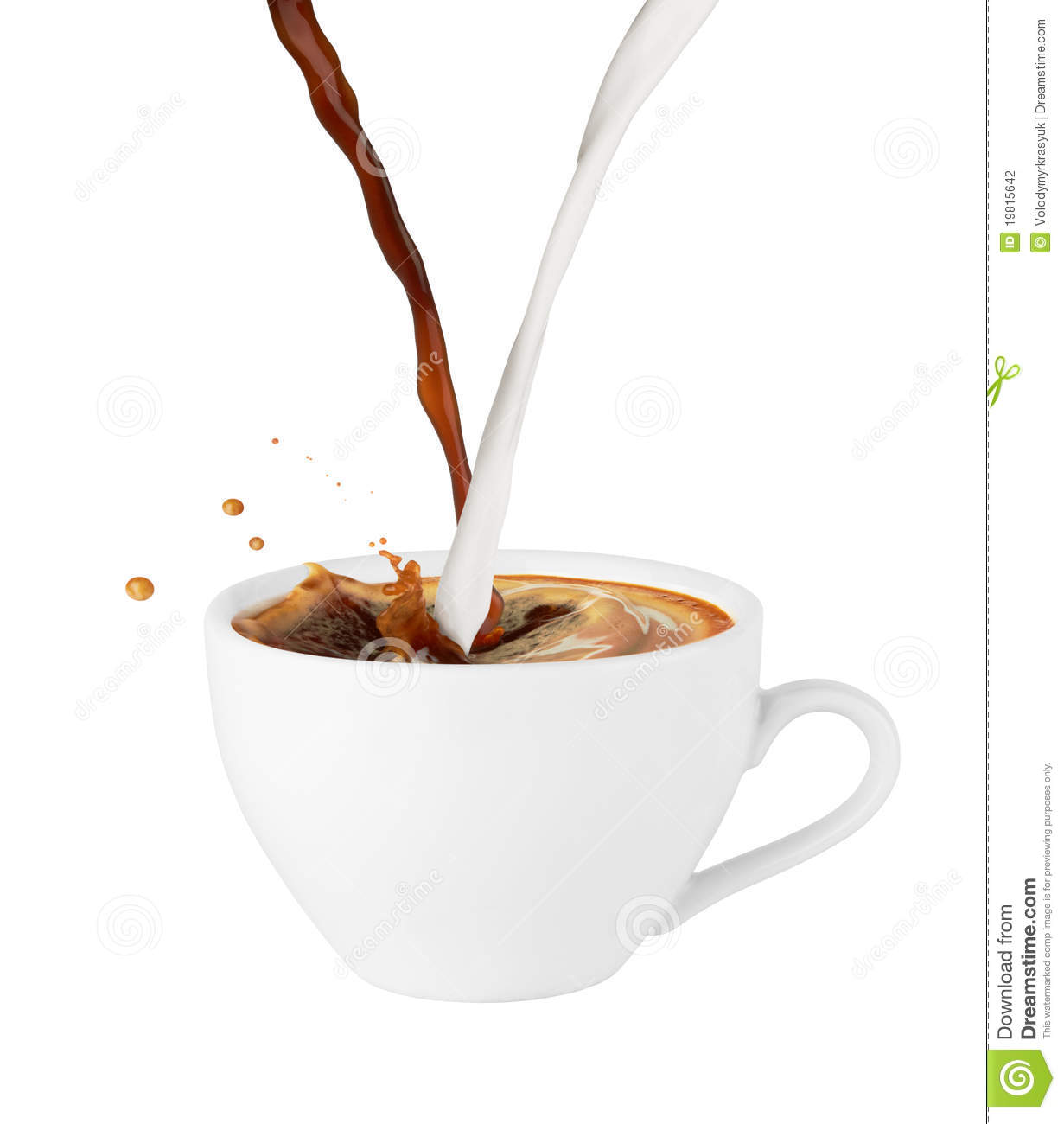 Coffee And Milk Poured In A Cup Stock Photography.