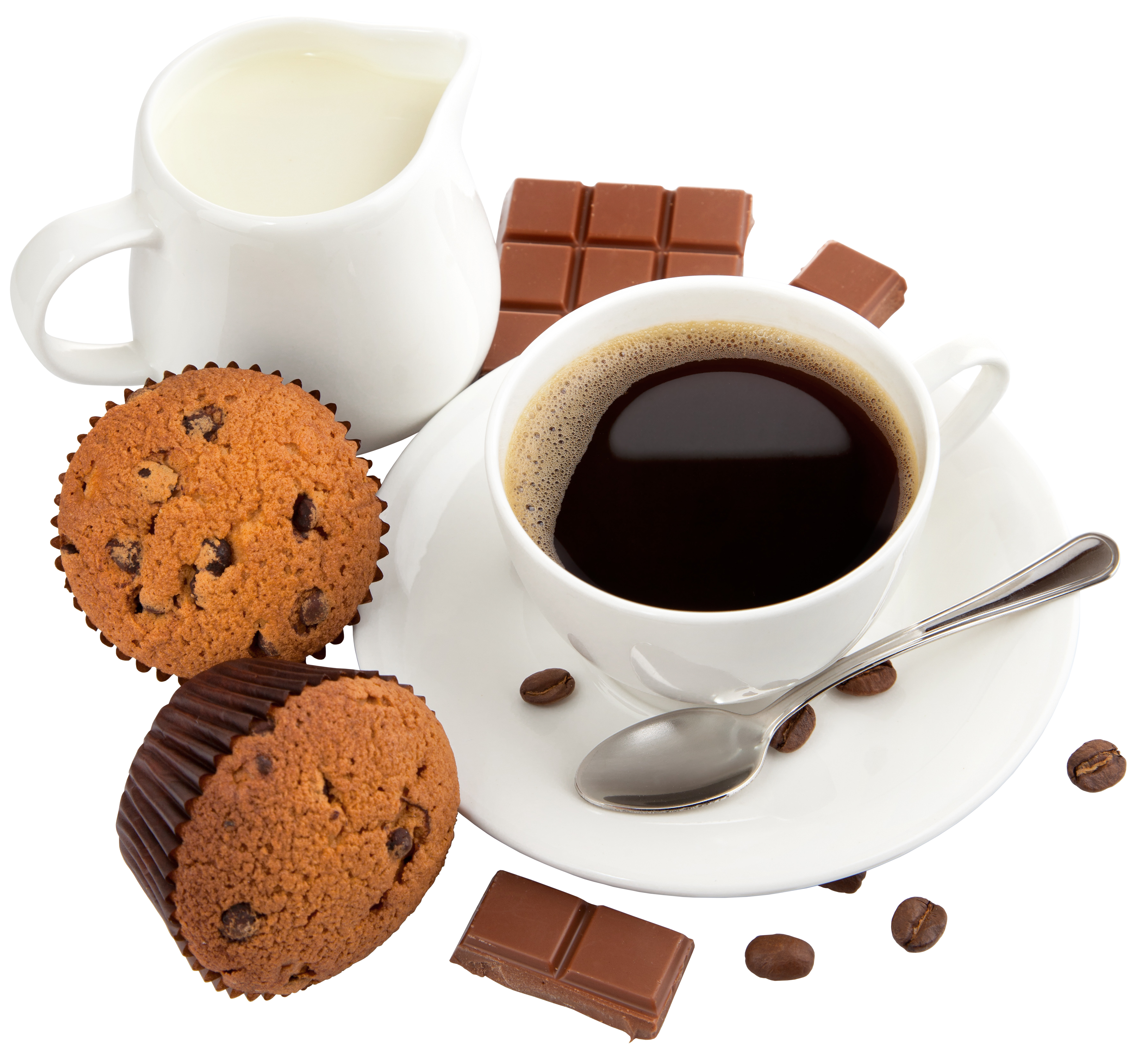 Coffee with Milk Muffins and Chocolate PNG Clipart Picture.