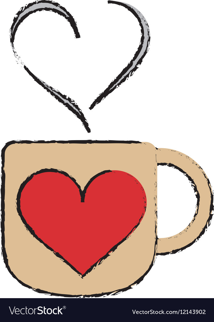 Cartoon cup coffee love heart hot.