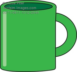 Drawing of a Green Coffee Mug As a Royalty.