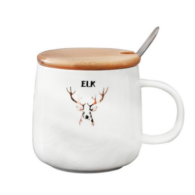 Christmas Ceramic Mugs with Reindeer Logo, Porcelain Mug with Wood Lids,  Coffee Mugs with Stainless Steal Spoon, Special Dark Fringe Appearance.