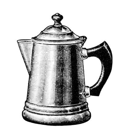 vintage coffee pot clipart, old fashioned coffee maker, black and.