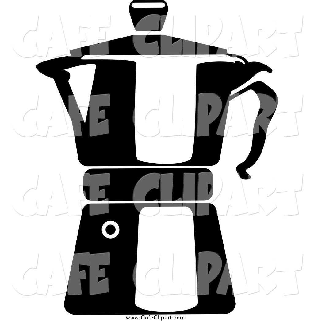 Vector Clip Art of a Black and White Coffee Maker Pot by Frisko.