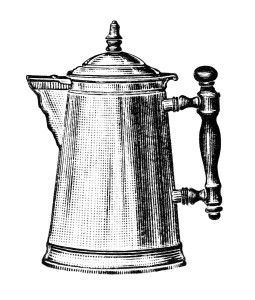 Free Vintage Image ~ Nickel Plated Coffee Pot Clip Art Image.